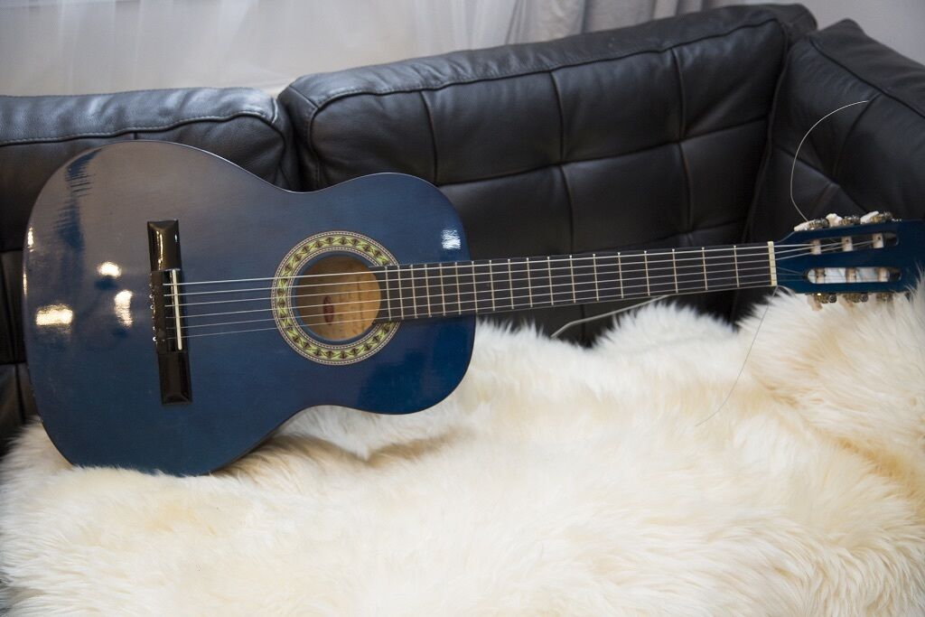 Dark Blue Acoustic Guitar 3 4 Size Hand Made By Stagg