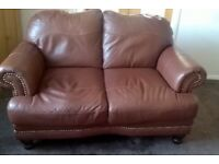 DFS leather 2 seater Mendez sofa - Chestnut