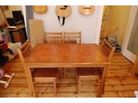 Beautiful Tiled Wooden Table and 4 chairs