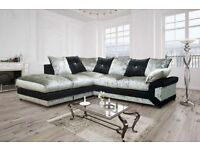 CRUSH VELVET FABRIC CORNER SOFAS 3 AND 2 SEATER SUITES