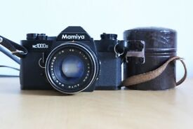 Mamiya 35mm film camera and 2 lenses