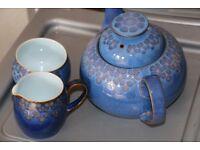 Denby China 'Midnight' teapot, cream jug and sugar bowl