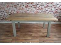 Chunky Hardwood Slab-Style Rustic Dining Table Six-Seater Oak Farmhouse Table