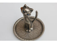 Funky Vintage Silver Plated Cat Ring Holder Ring Dish Jewellery Tray Vintage Jewelery