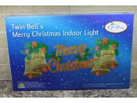 illuminated Window Christmas Decorations Twin Bell's Indoor Lights Plus a Candle Bridge