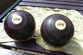 Wooden crown green bowls set.