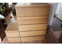 chest of draws , bedside draws , 3 glass display cabinets, 1 wall mounted display cabinet