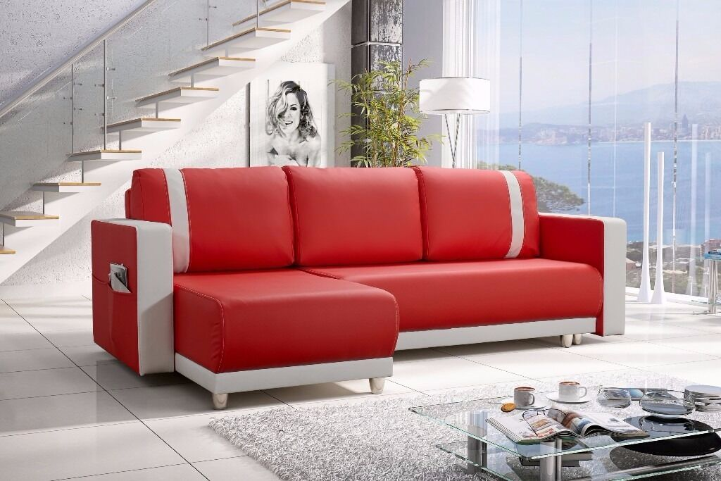 New Amazing Faux Leather Corner Sofa Bed 'CARLOS' Red / White - FREE DELIVERY