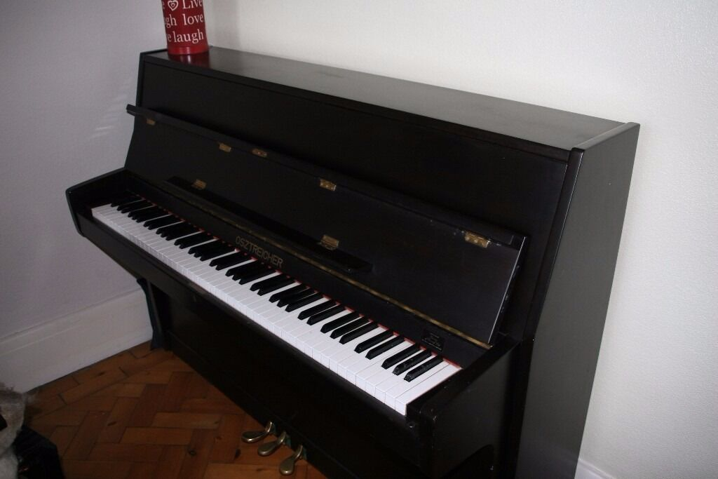 osztreicher upright piano in a black satin finish in canton cardiff gumtree. Black Bedroom Furniture Sets. Home Design Ideas