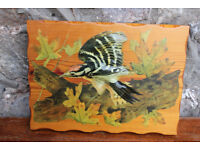 Vintage Handmade Bird Picture Decoupage on Wood By Deirdre Drake Woodpecker 3D effect Art Painting