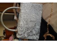 SILVER LACE HANDBAG WITH GOLD CHAIN