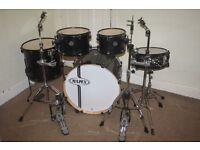 Mapex Horizon Transparent Black 5 Piece Full Drum Kit with Sabian Solar Hi Hat and Cymbal Set