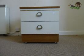 Bed side chest of drawers brown & white