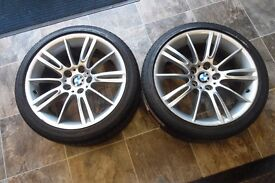 """18"""" ORIGINAL BMW ALLOY WHEELS AND TYRES 2 WHEELS"""
