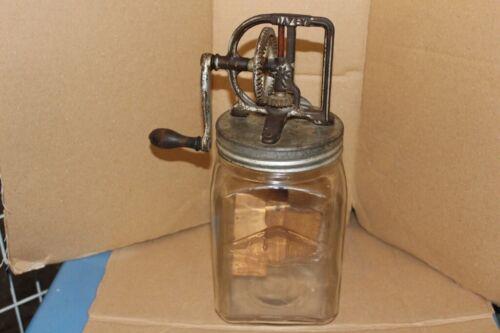 Vintage Dazey Churn Glass Jar Cast Iron Wood Paddles 4 Qt. Good Condition