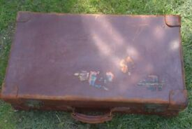 Vintage Antique Leather Suitcase. Interesting old travel labels including one for the Orient Express