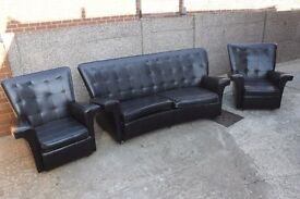 Retro Leather Two Seater Sofa and Two Armchairs