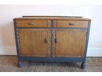 Vintage Art Deco sideboard, oak and veneer, upcycled, Graphite.