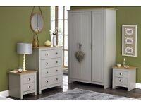 CLASSIC 4 PIECE BEDROOM SET 3 DOOR WARDROBE/CHEST/BEDSIDE CABINETS GREY/OAK TOP EFFECT