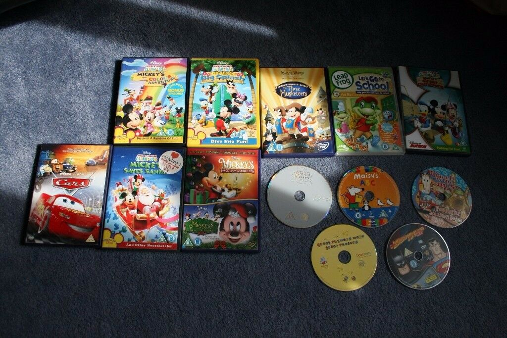 Children DVD bundle - Nickey Mouse Clubhouse, Cars2, Songs, Leap Frog.. will post