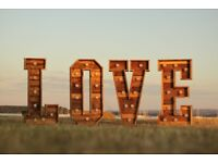 4ft Rustic Lightup Letters - LOVE / MR & MRS - For Hire