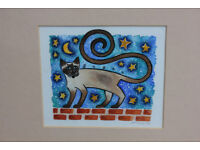 Vintage Framed Watercolour Painting of Funky Cat on Wall. Sasha Original Picture Art