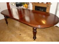 Victorian Style Solid Wood Dining Table with inserts, and winding handle