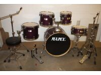 Mapex M Series Violet Lacquer 5 Piece Full Drum Kit (22in Bass) + All Hardware + Stool + Cymbals