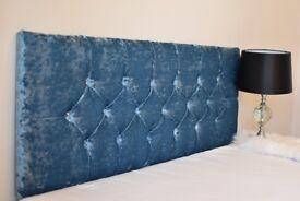 Chesterfield Headboard 20 inch; Crush Velvet, Diamente Button, 3FT, 4FT, 4FT6, 5FT
