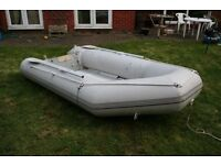 Jago inflatable dinghy 3.2m x 1.5m. Aluminium deck & inflatable keel, takes upto 25hp outboard