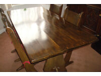 Vintage Solid Wood Dining Table & Chairs