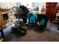 Travel system Babystyle Oyster Mirror 3 in 1 Pushchair Pram quick release Car Seat rain covers