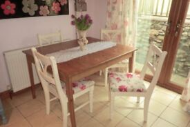 Square pine table and 4 cream painted chairs