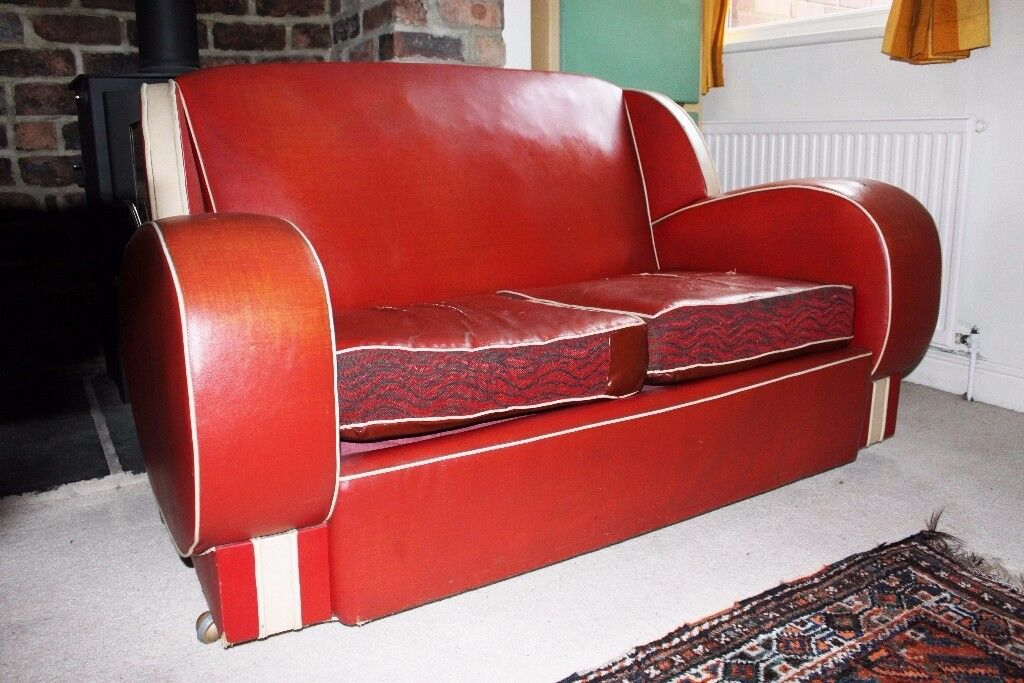 Retro Vintage 1930 S Art Deco Red White Vinyl Leather Sofa