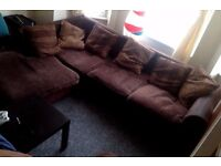L-Shaped Sofa _ Fabric (Brown) _ £50 - Collection Only