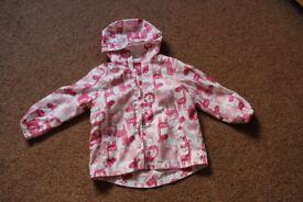 TU Baby Girls Light weight White with pink animals coat, size 1 – 1 ½ years
