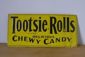 American / USA antique 1920s / 30s / 40s Tin 'Tootsie Rolls Delicious Chewy Candy' Advertising Sign