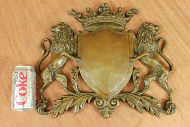 Art Deco  Large Lion Crest Family Heirloom Bronze Sculpture Decorative Lost Wax