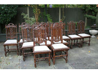 Set of six plus six closely similar antique Victorian oak chairs
