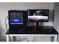 Complete Setup. Liquid Cooled High End Gaming PC i7 8700k GTX 1080 TI 32GB 3200MHz Ram 144hz Monitor