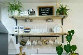 Upcycled rustic kitchen shelves shelf with cup rail