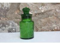 Unusual Victorian Green Glass Bottle The Crown Perfumery Company London Diamond Mark 19th Century
