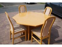 Beech expending table and 6 chairs