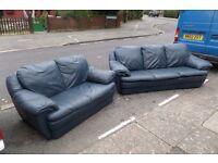 blue leather sofa set