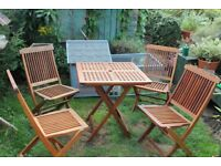 Teak Folding Table And 4 Chairs