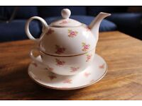 Tea Set for One. Crown Windsor Tea Pot. Fine Bone China. Dot Rose Design.