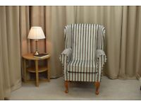 **Brand New** Wingback Chair in a Blue and Brown Candy Stripe fabric