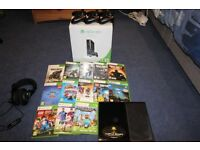 Xbox 360 with games, controllers, gaming headset, Skylanders and wireless gaming receiver