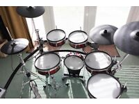 Roland TD20 with full carry cases, custom red shells and extra cymbal+drum