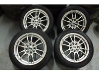 "Silver Multi-fit 15"" 4x100 4x108 alloy wheels +2 tyres RRP £350.00+ Ford Vauxhall vw honda toyota"
